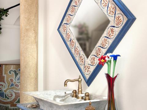 Specchiera in mosaico e top in graniglia alla genovese