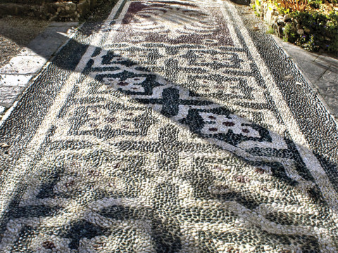 Cobbled pavement in nineteenth century Villa overlooking Portofino