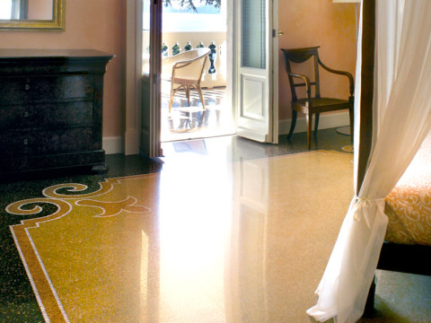 Room overlooking Portofino, traditional genoese floor