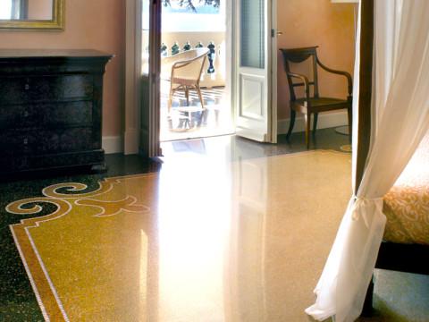 Camera vista Portofino pavimento tradizionale genovese