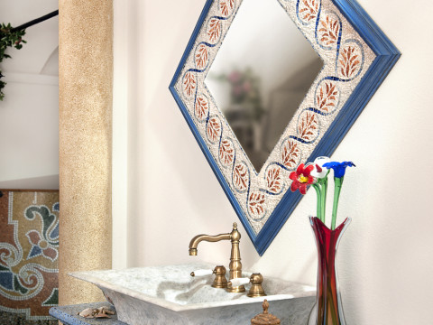 Mosaic mirror frame and marble grit washbasin top
