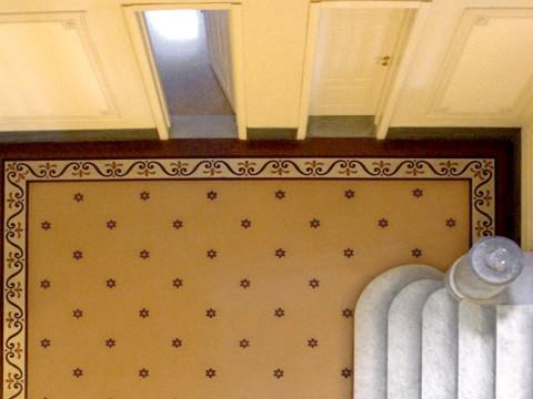 Decorazioni floreali su pavimentazione genovese ex Hotel Miramare Genova